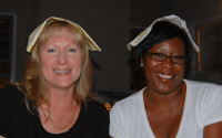 Renee and Gail with Napkins on their heads