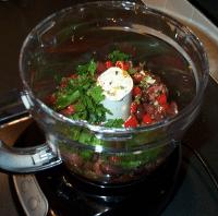 Tapenade in food processor bowl
