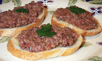 Tapenade on crostini