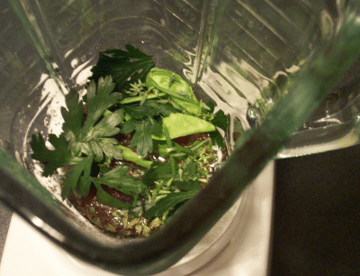 Fresh Herb Vinaigrette ingredients in a blender