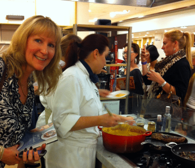 Me leaning in at cooking demonstration