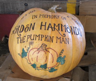 Large pumpkin memorial to the Pumpkin Man