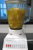 Cauliflower Soup Chunks in Blender before Blending