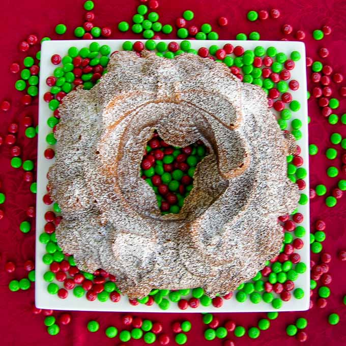 Eggnog Pound Cake is a festive dessert for the holidays. It is a classic pound cake flavored with eggnog and baked in a bundt pan.