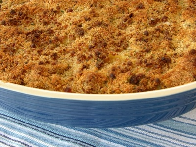 Turkey Tetrazzini in blue baking dish