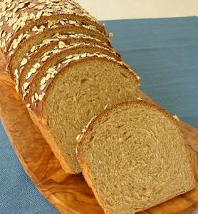 Sliced Homemade Oatmeal Wheat Bread