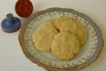 Shortbread cookies stamped with a decorative design