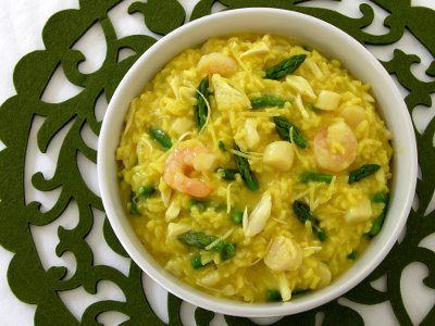 Risotto made with seafood (crab, shrimp, and scallops) and asparagus