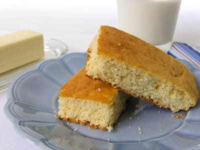Cornbread slices on a plate