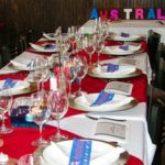 Australian themed tablescape for wine tasting at 15th Street Pizza