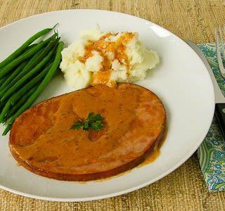 Ham Steaks With Madeira Cream Sauce #CookForJulia