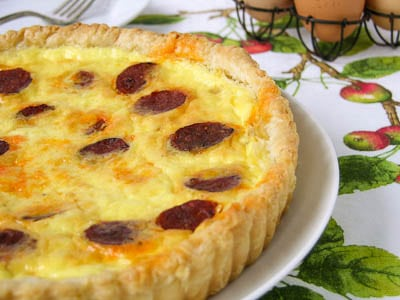Onion and Chorizo Quiche #CookForJulia Guest Post at Family Foodie