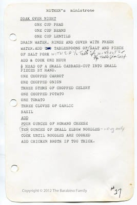 Minestrone recipe page from Barabino family book