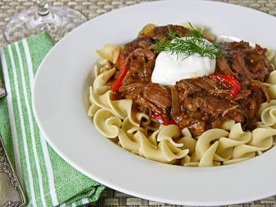 Crockpot slow cooker goulash over noodles