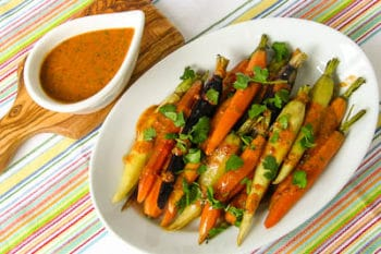 Rainbow Carrots With Cilantro Chile Drizzle