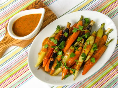 Rainbow Carrots With Cilantro Chile Drizzle