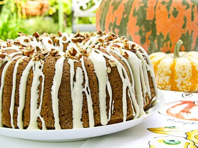 Pumpkin Pecan Bundt Cake with a cream cheese glaze