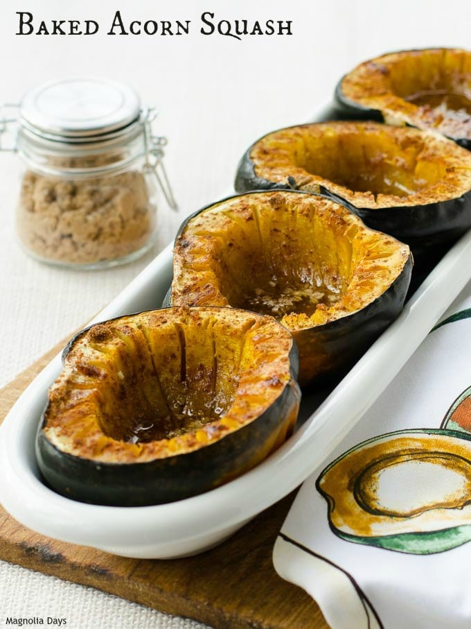 Baked acorn squash topped with butter, cinnamon, and brown sugar. It's a wonderful side dish to go with ham, chicken, pork, and more.