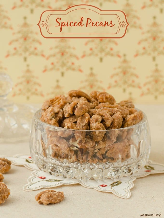 Spiced Pecans made with cinnamon and sugar. Make them for a special holiday treat to enjoy, share, or give as homemade gift.