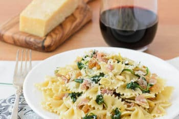 Farfalle with Prosciutto Spinach and Pine Nuts | Magnolia Days