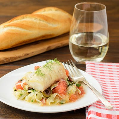 Seared Cod with Grapefruit Fennel Slaw for #SundaySupper