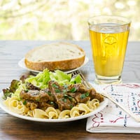Beef and Onions Braised in Beer