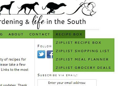 Ziplist in Magnolia Days Navigation Menu