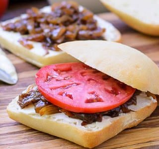 Caramelized Onion, Goat Cheese, and Tomato Sandwich for #SundaySupper