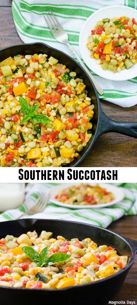 Succotash is a Southern mixed vegetable side dish made with corn, lima beans, tomatoes, zucchini, and onion. It is a great way to use summer vegetables.