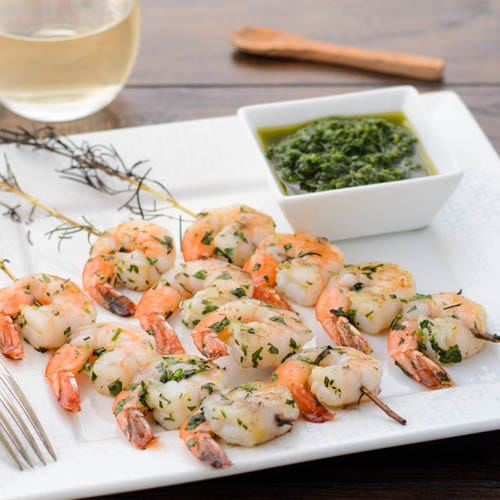 Grilled Herb Shrimp With Chimichurri Sauce for #SundaySupper