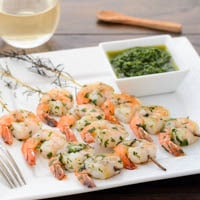 Grilled Herb Shrimp With Chimichurri Sauce