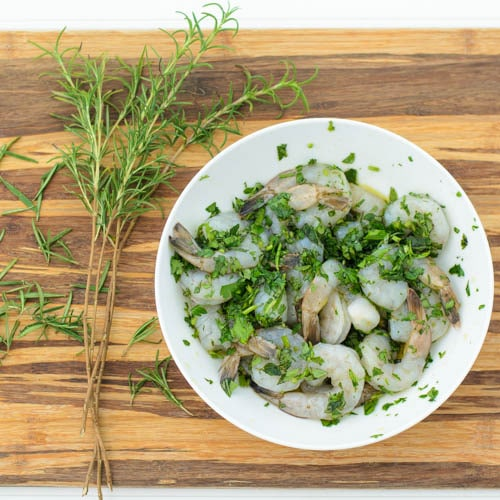 Shrimp Marinating In Fresh Herbs | Magnolia Days