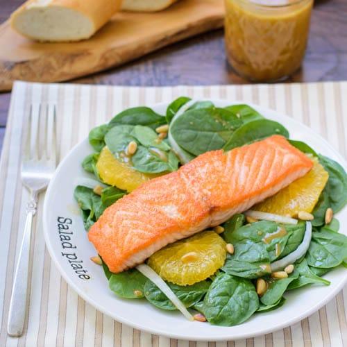 Salmon Spinach Salad With Orange Miso Dressing