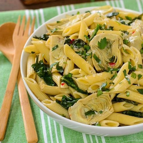 Artichoke Spinach Pasta | Magnolia Days