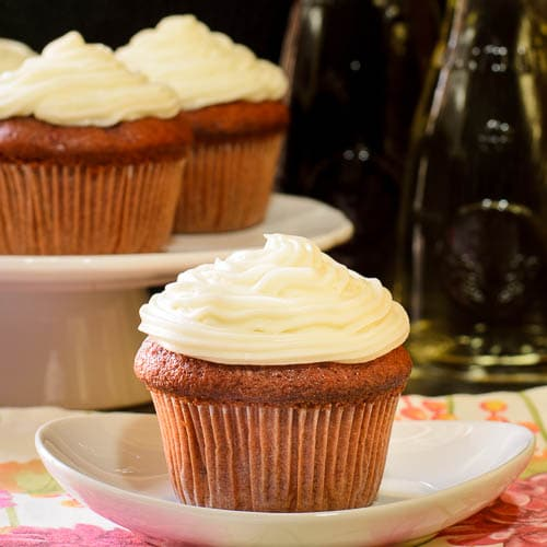 Merlot Cherry Cupcakes with Sweet White Frosting for #SundaySupper