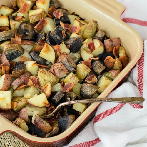 Roasted Potatoes with Onion and Bacon   Magnolia Days