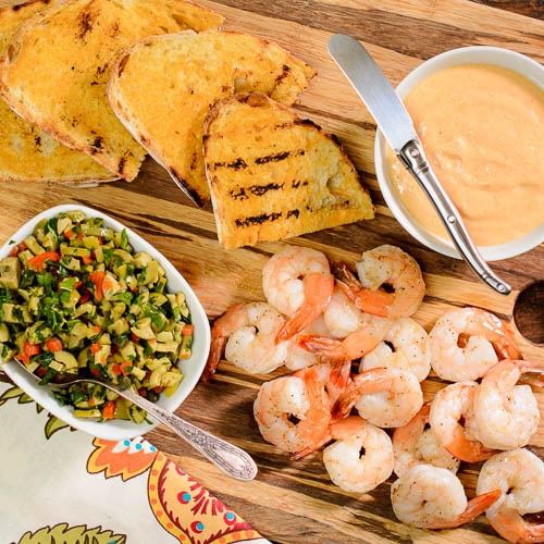 Grilled Bread with Shrimp, Aioli, and Olive Relish by Magnolia Days