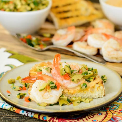 Grilled Bread with Shrimp, Aioli, and Olive Relish | Magnolia Days