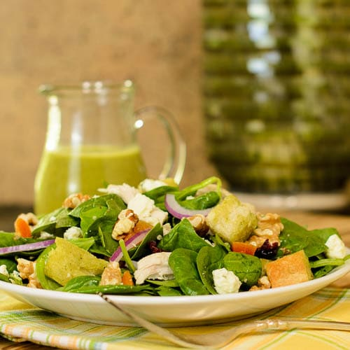 Turkey Spinach Salad with Herb Vinaigrette for #WeekdaySupper #ChooseDreams