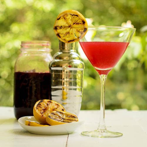 Grilled Lemon Cherry Drop Martini