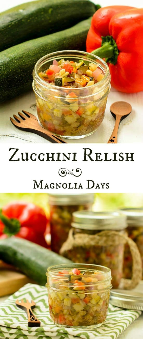 Zucchini Relish is a great way to use an abundance of zucchini from the garden. It's a great topping for salads, sandwiches, seafood, chicken, and more.