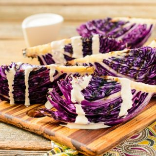 Grilled Red Cabbage with Lime Sour Cream Dressing