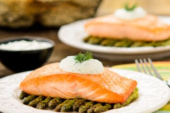Pan-seared Salmon with Asparagus and Dill Sauce | Magnolia Days