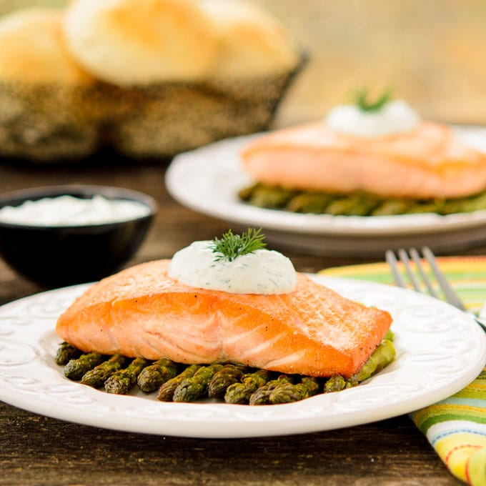 dill salmon with creamy dill sauce recipe yummly this seared salmon ...