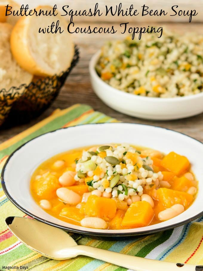 Butternut Squash White Bean Soup with Couscous Topping | Magnolia Days