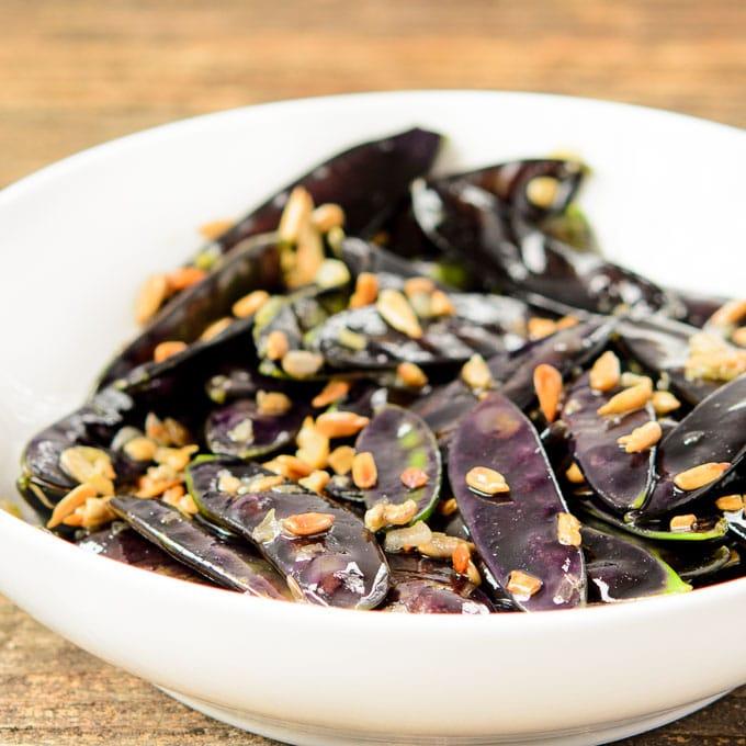Purple Snow Peas with Sunflower Seeds | Magnolia Days
