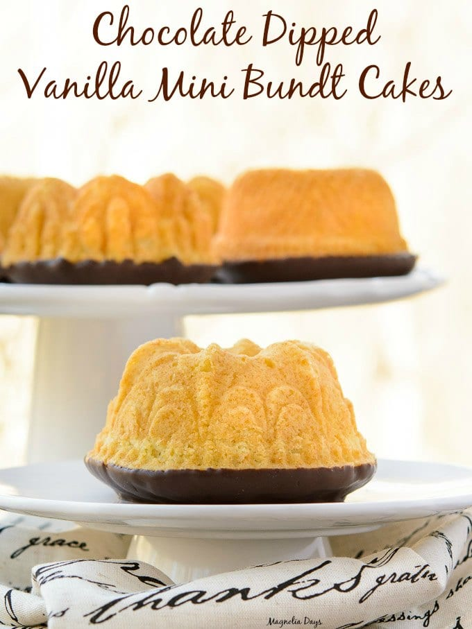 Chocolate Dipped Vanilla Mini Bundt Cakes | Magnolia Days