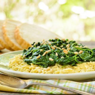 Spinach Topped Creamy Orzo