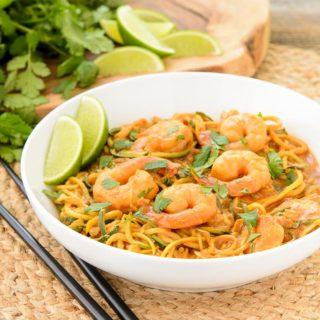 Tahini Red Curry Shrimp Zoodles