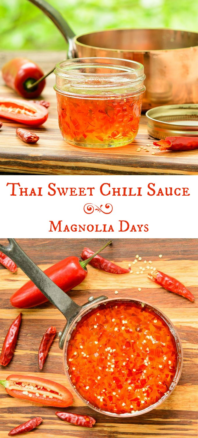 Thai Sweet Chili Sauce is thick, sweet, hot, sour, and spicy. It's a wonderful dip for egg rolls and vegetables or use it to baste grilled chicken, shrimp, and more.
